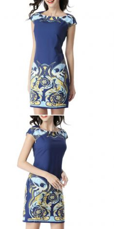 Rochie albastra cu imprimeuri