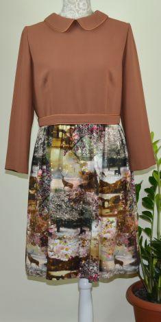 Rochie maro cu imprimeu Natura
