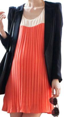 Rochie plisata portocaliu cu alb