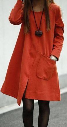 Rochie portocalie cu maneca lunga