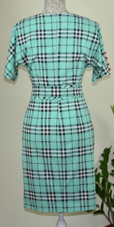 Rochie verde cu carouri
