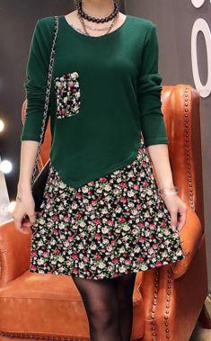 Rochie verde cu fusta cu imprimeu floral
