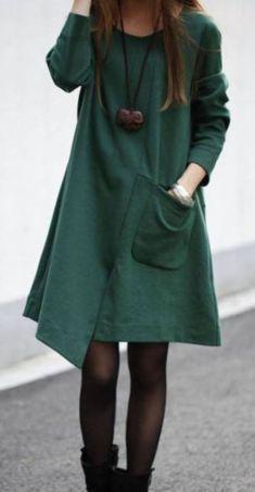 Rochie verde cu maneca lunga