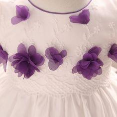Rochita de botez alba cu flori mov