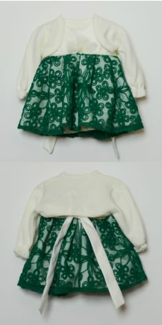 Rochita De Botez Alba Cu Verde