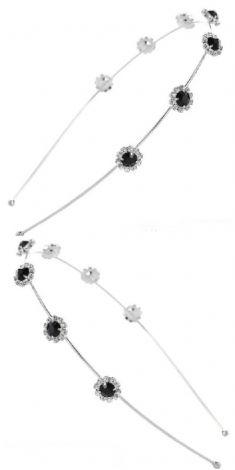 Bentita argintie cu strasuri negre si albe