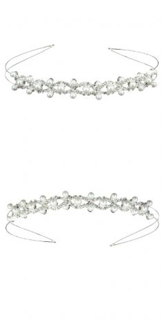 Bentita argintie cu strasuri si perle