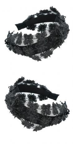 Bentita neagra cu dantela neagra si argintie