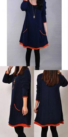 Bluza/rochie bleumarin cu buzunare