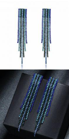 Cercei lungi albastrii cu strasuri