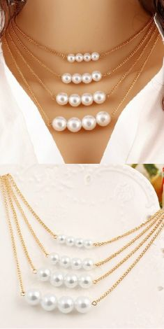 Colier auriu cu patru randuri de perle