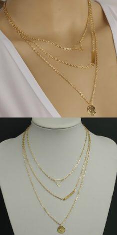 Colier auriu cu trei lanturi