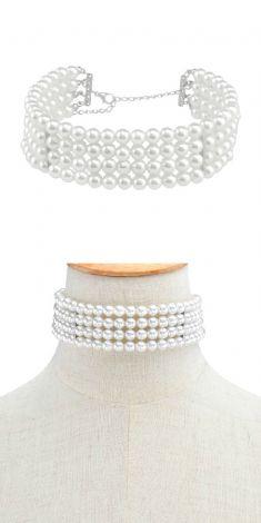 Colier cu patru randuri de perle