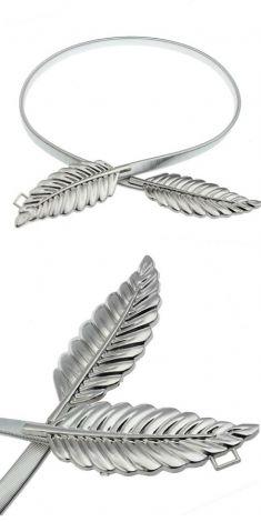 Curea argintie elastica, catarama doua frunze