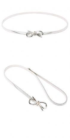 Curea argintie elastica, catarama funda cu nod