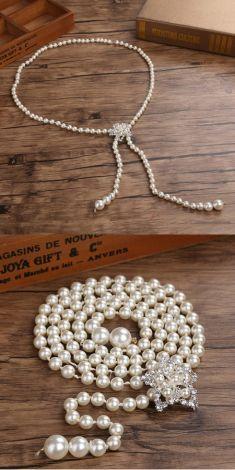 Curea / Colier cu un singur sirag de perle, catarama cu strasuri si perle