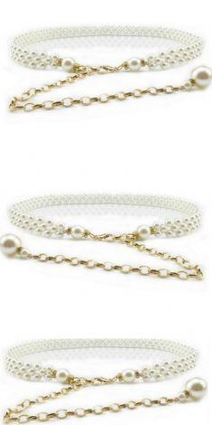 Curea cu 3 randuri de perle albe