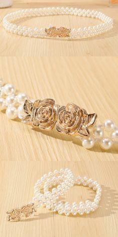 Curea cu perle, catarama doi trandafiri aurii