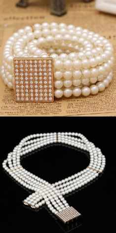 Curea cu perle, catarama dreptunghiulara cu strasuri
