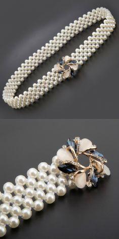 Curea cu perle, catarama patrata cu strasuri