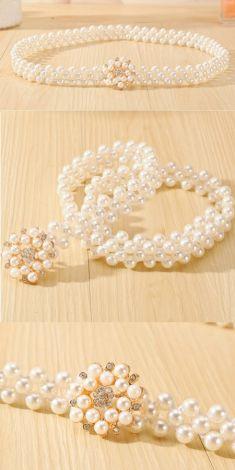Curea de perle, catarama floare