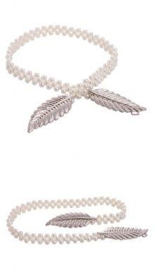 Curea din perle, catarama argintie doua frunze