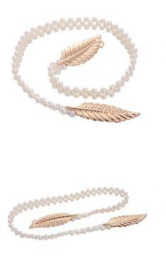 Curea din perle, catarama aurie doua frunze