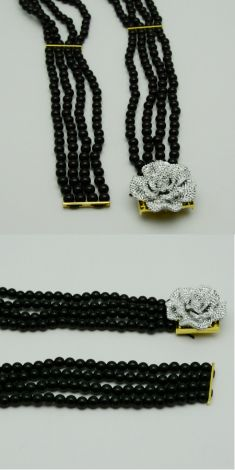 Curea din perle negre, catarama cu strasuri