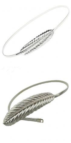 Curea elastica argintie, catarama o frunza