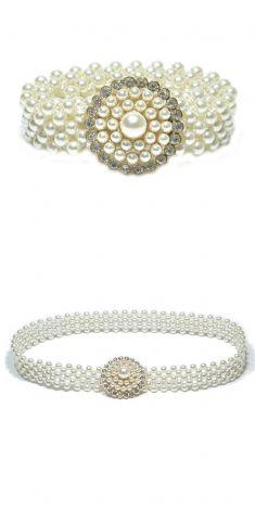 Curea elastica cu perle si strasuri