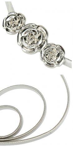 Curea metalica argintie, catarama trei trandafiri