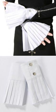 Mansete albe(plisate) pentru camasi/pulovere