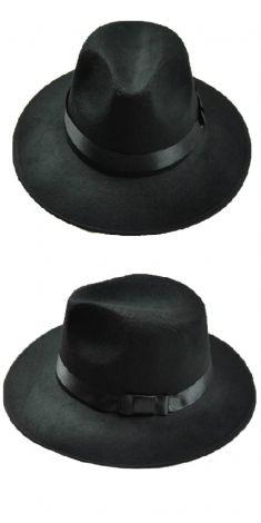 Palarie neagra cu funda neagra