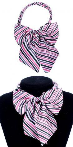Papion cu dungi subtiri albe, roz, mov si negre