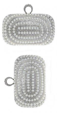 Plic argintiu cu perle albe si detalii argintii