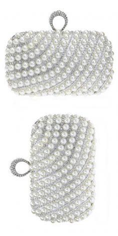 Plic argintiu cu perle si detalii argintii