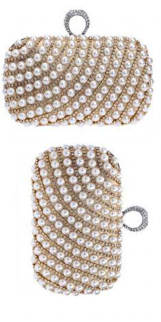 Plic auriu cu perle si detalii aurii