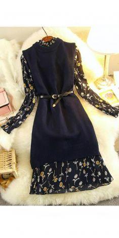 Rochie bleumarin cu flori (2 piese-pulover+rochie)
