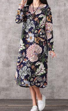 Rochie bleumarin imprimeu floral