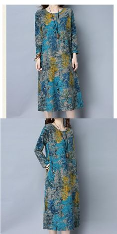 Rochie cu imprimeu de toamna (albastra)