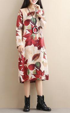 Rochie cu imprimeu frunze de toamna