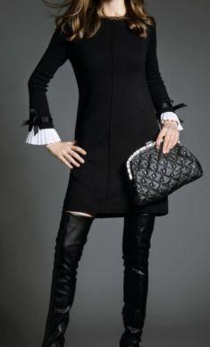 Rochie neagra cu fundite si pliseuri