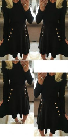 Rochie neagra cu nasturi aurii