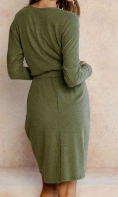 Rochie verde cu cordon