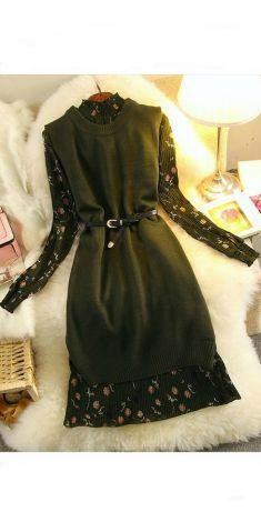 Rochie verde cu flori (2 piese-pulover+rochie)