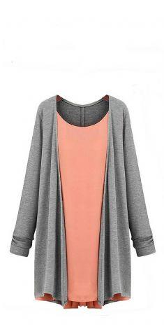 Bluza/Rochie gri cu portocaliu