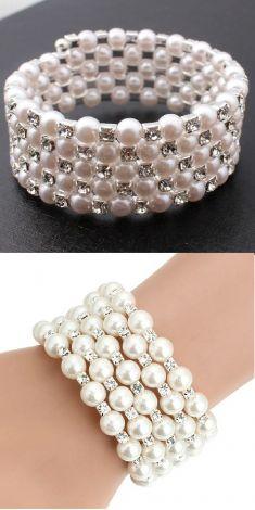 Bratara cu perle si strasuri 5