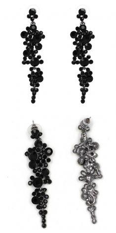 Cercei argintii cu strasuri negre