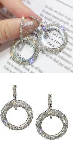 Cercei argintii cu strasuri (rotunzi)