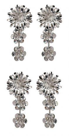 Cercei argintii - trei flori